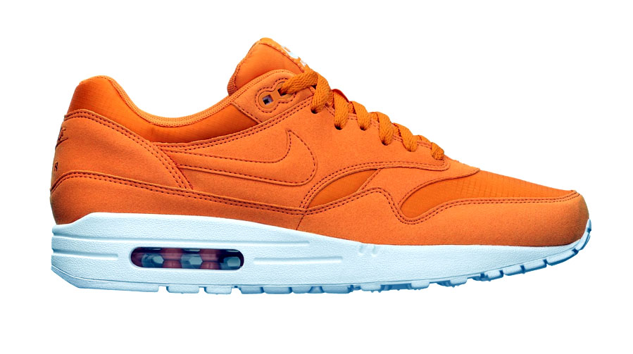 ... Nike Air Max 1. Both shoes feature a bright solid-toned upper constructed with nylon in Mandarin and Dynamic Blue, completed with an all white bottom.