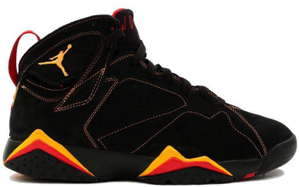 Air Jordan 7 Fond Jaune Rouge Noir