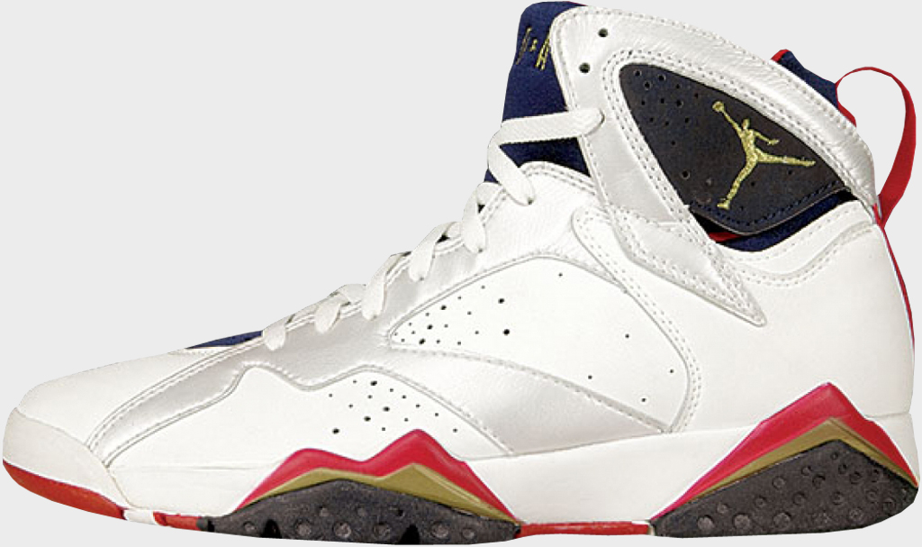 nike air jordan 7 og white black cardinal red yellow shoes