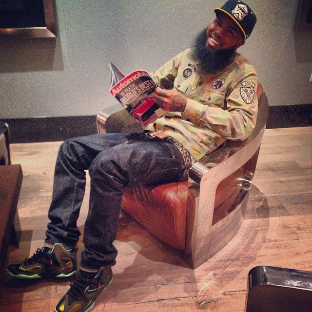Stalley wearing Nike LeBron 11 XI King's Pride