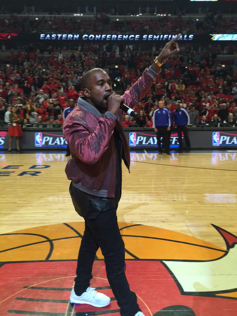 83afbe7a1 Kanye West wearing the adidas Energy Boost ESM at the Bulls Game