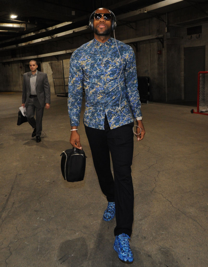 LeBron James wearing Balenciaga Arena Splatter Custom