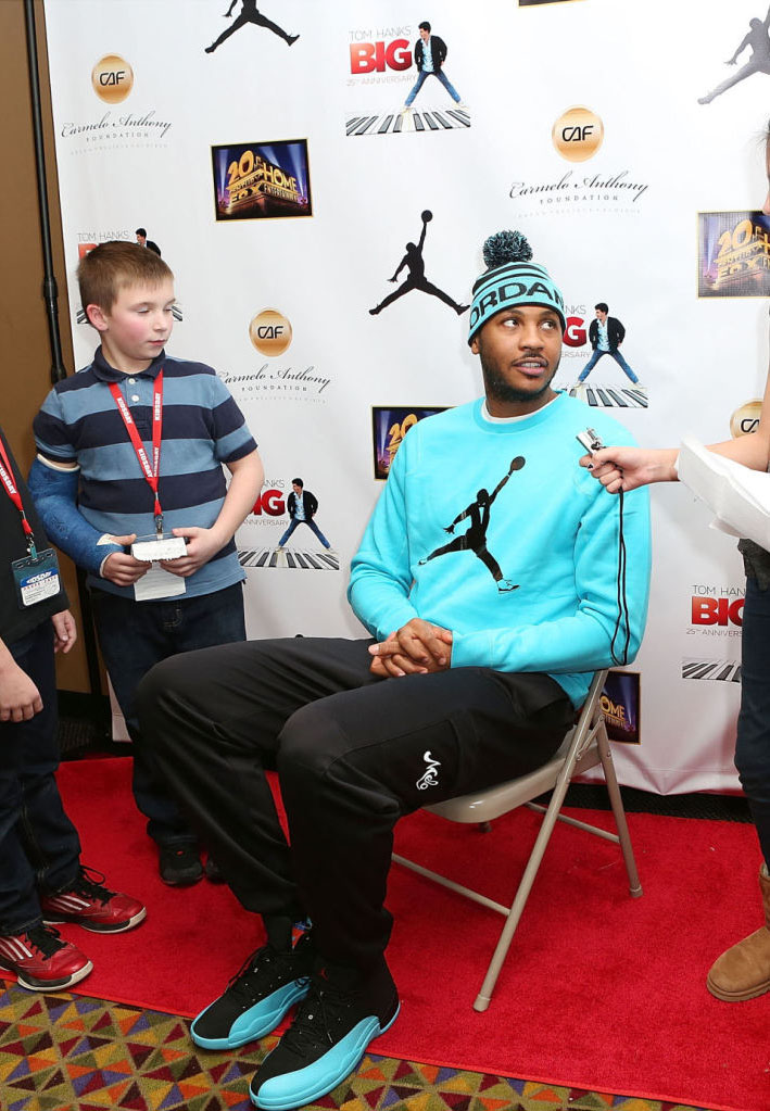 Carmelo Anthony wearing Air Jordan 12 Retro Gamma Blue