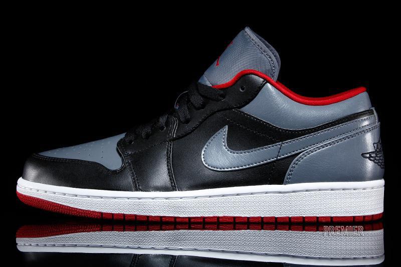 818acdca61e6 Air Jordan I 1 Low Black Cool Grey-Gym Red 553558-012 (