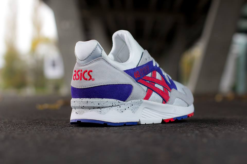 ASICS Gel Lyte V in White and Fiery Red heel