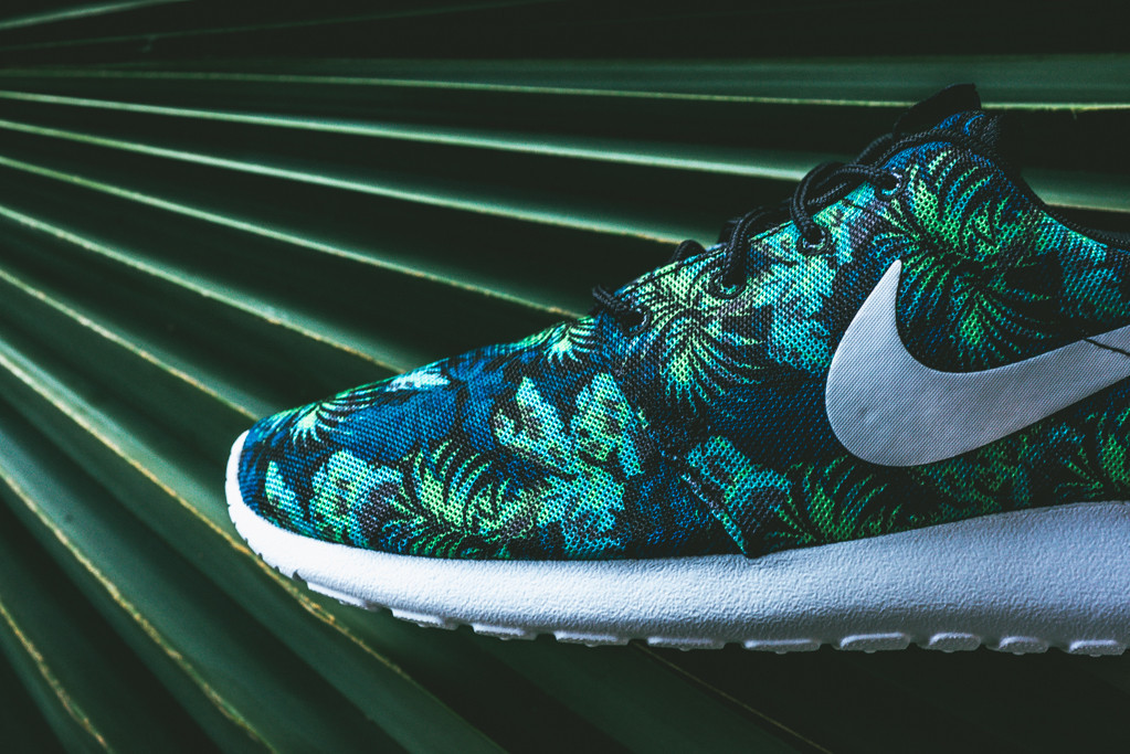 38cbaef30441 Floral Nike Roshe Runs in Space Blue and Poison Green