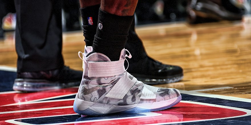 LeBron James Wearing the Veterans Day Nike LeBron Soldier 10