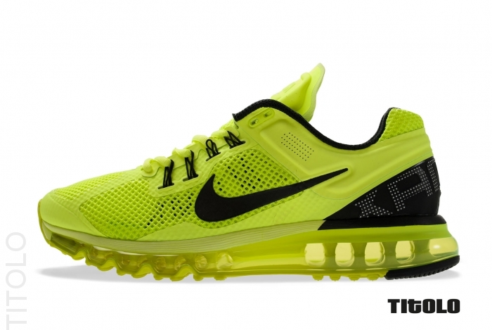 finest selection c354d 5e6c7 Nike Air Max+ 2013 - Volt Black-White. Nike Running s premier model for 2013  is introduced in a traditional
