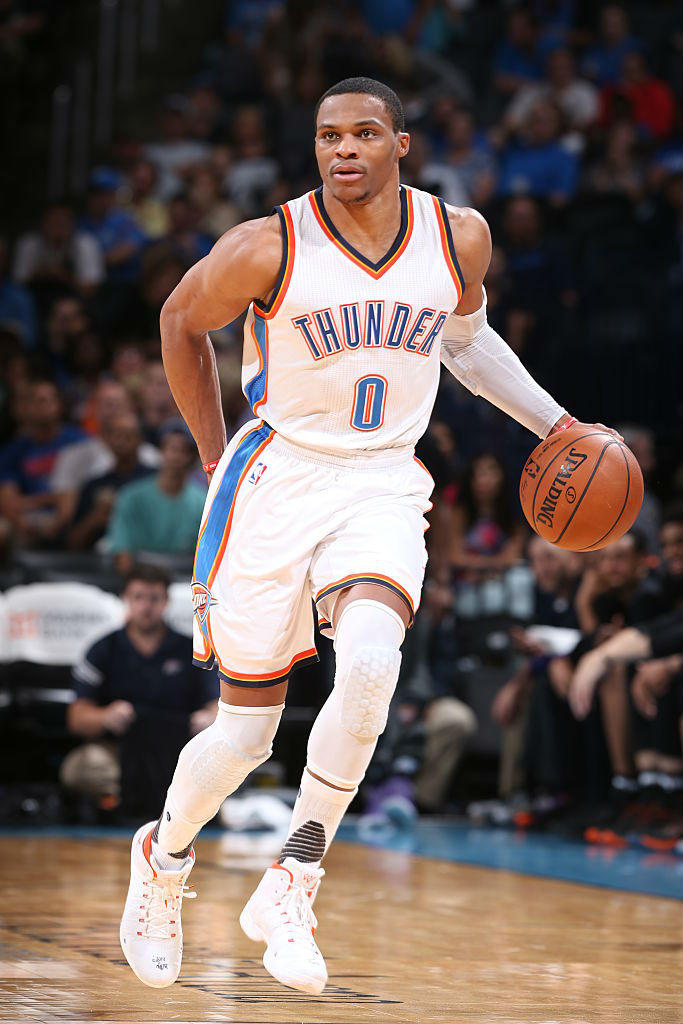 Russell Westbrook Wearing a White Orange Air Jordan 31 PE Thumb ... 625914dbfd0b