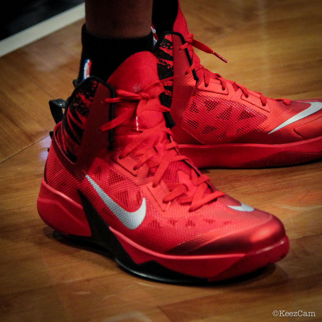 Sole Watch // Up Close At Barclays for Nets vs Heat - James Jones wearing Nike Zoom Hyperfuse 2013