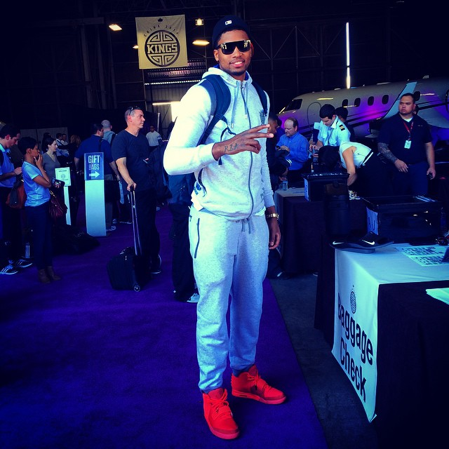 Rudy Gay wearing Nike Air Yeezy II 2 Red October