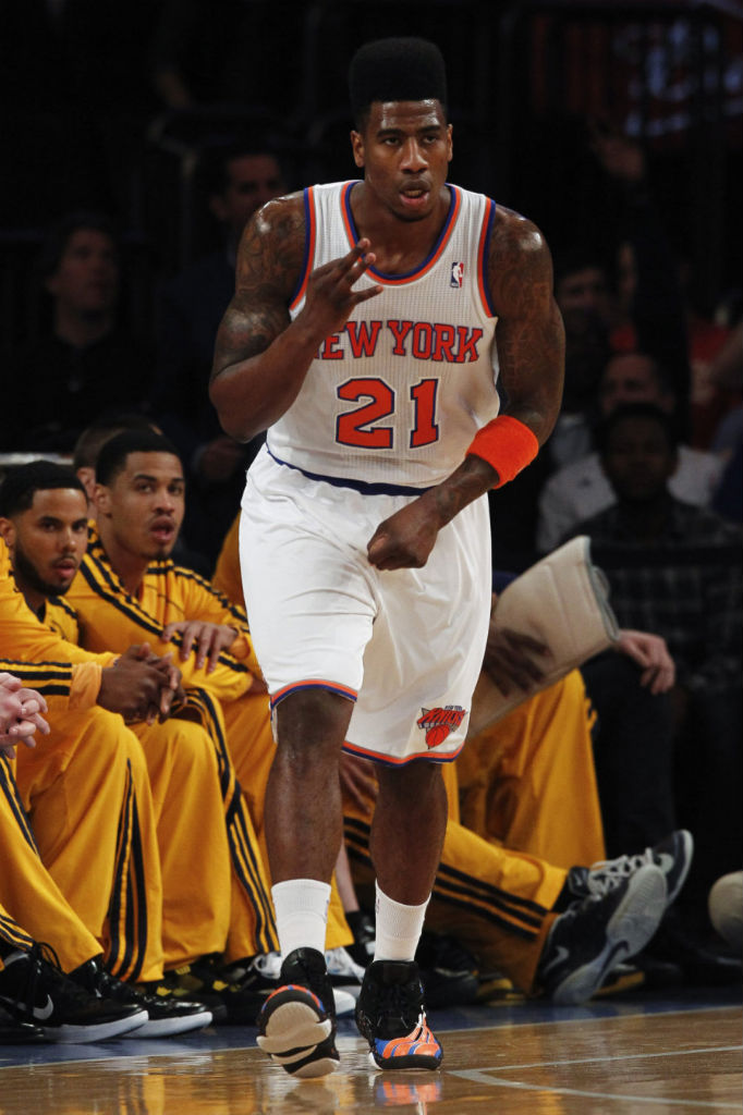 Iman Shumpert wearing adidas Real Deal Custom by Sole Swap