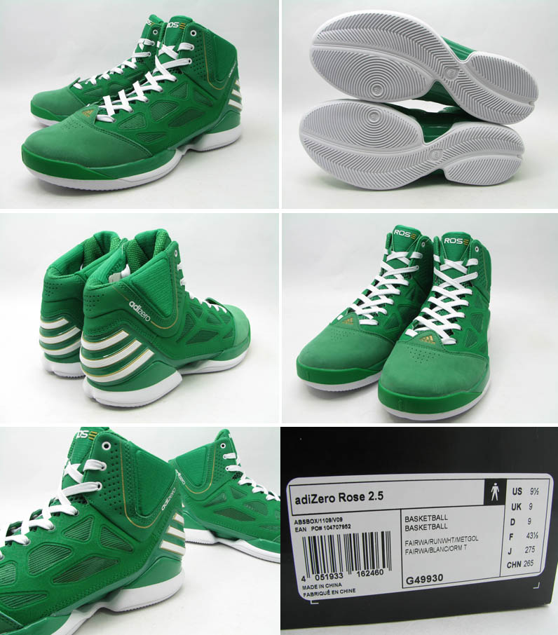3294aed1d1fc adidas adiZero Rose 2.5 St. Patrick s Day Shoes Fairway White Gold G49930