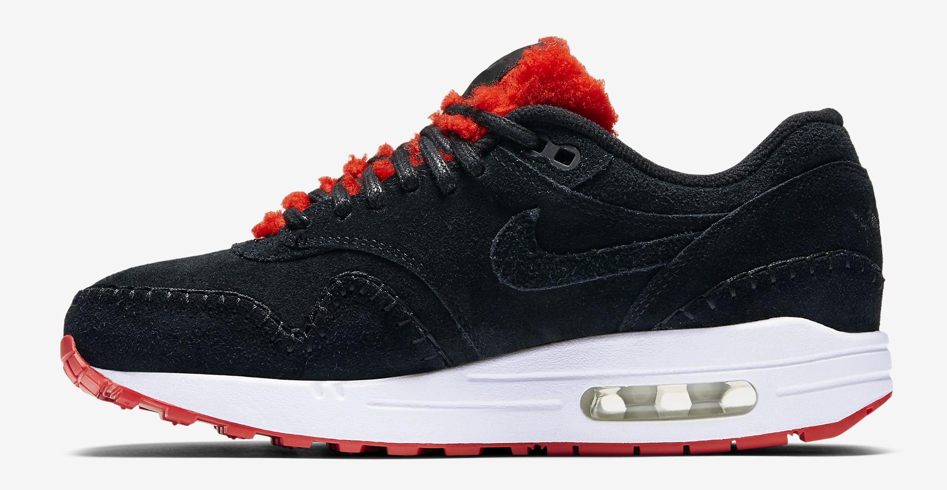 reputable site 07888 0bd8d Nike Air Max 1 Sherpa Black Red 454746-010 Medial