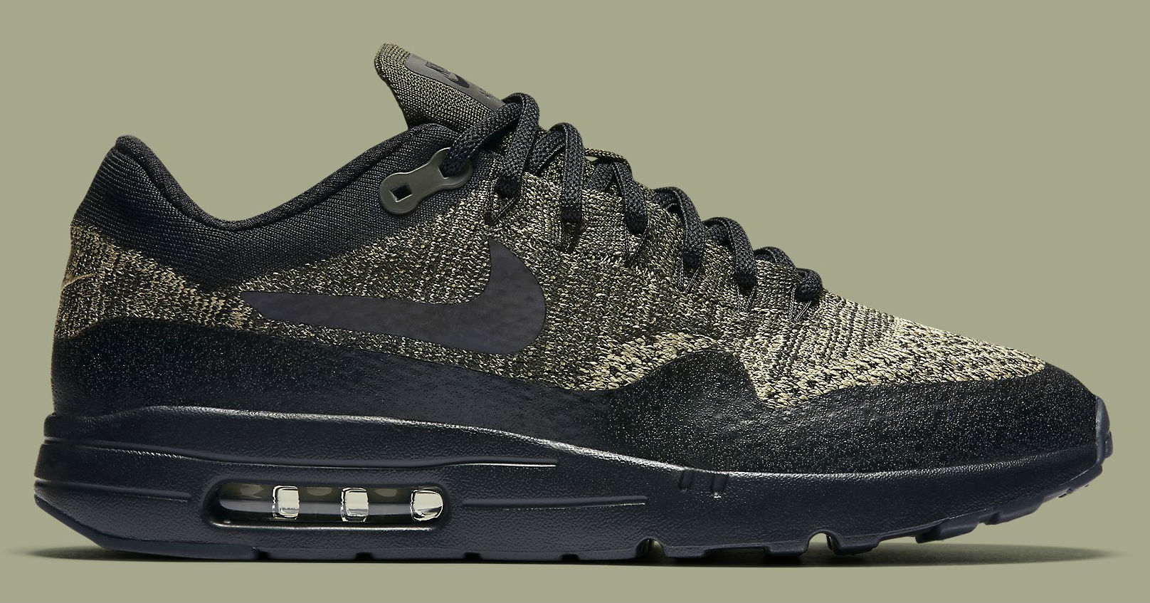 sale retailer 9e3db e9463 Nike Air Max 1 Ultra Flyknit Neutral Olive Black-Sequoia Side 856958-203