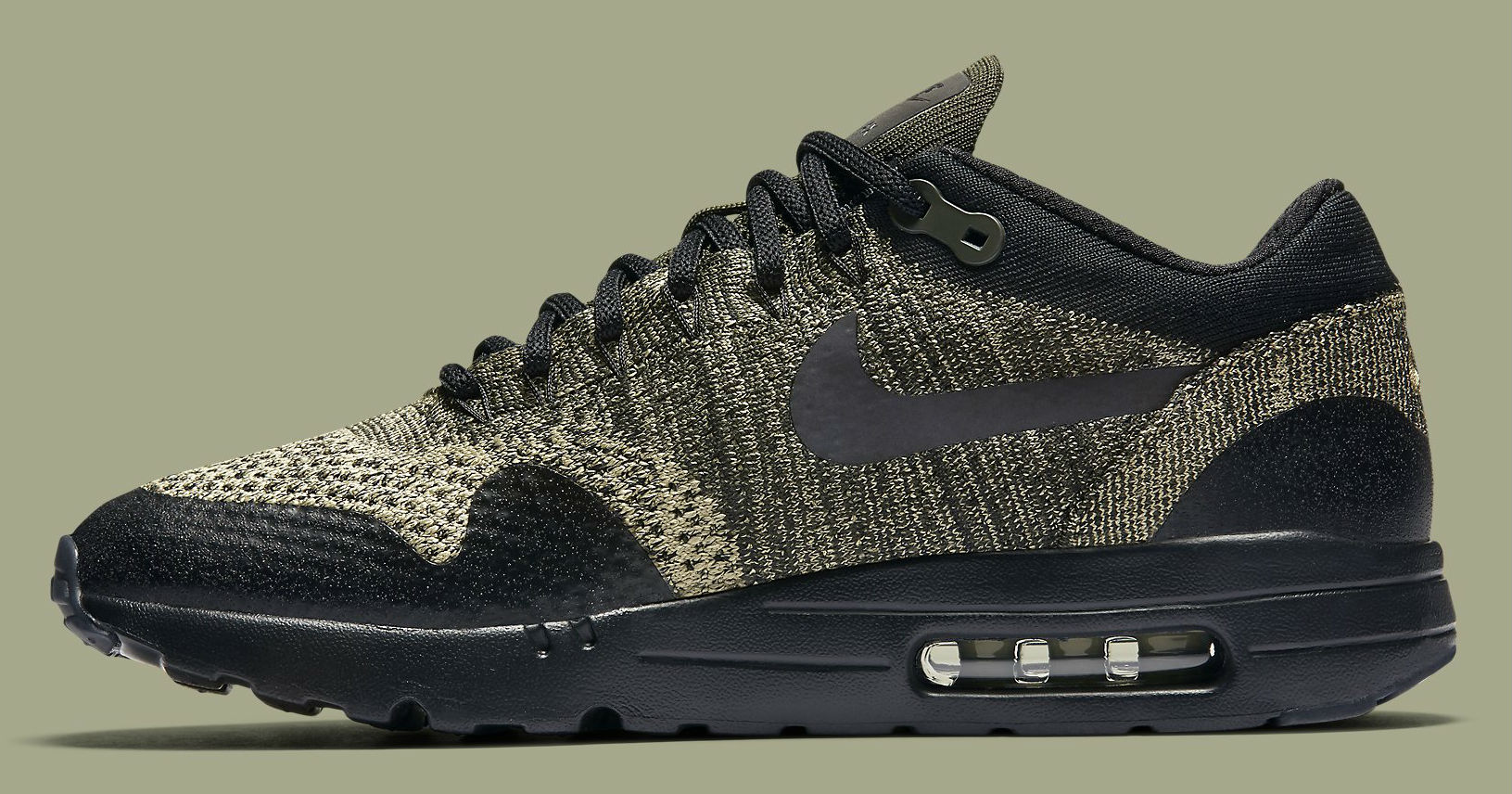 promo code 480ca 73cd8 Nike Air Max 1 Ultra Flyknit Neutral OliveBlack-Sequoia Medial 856958-203