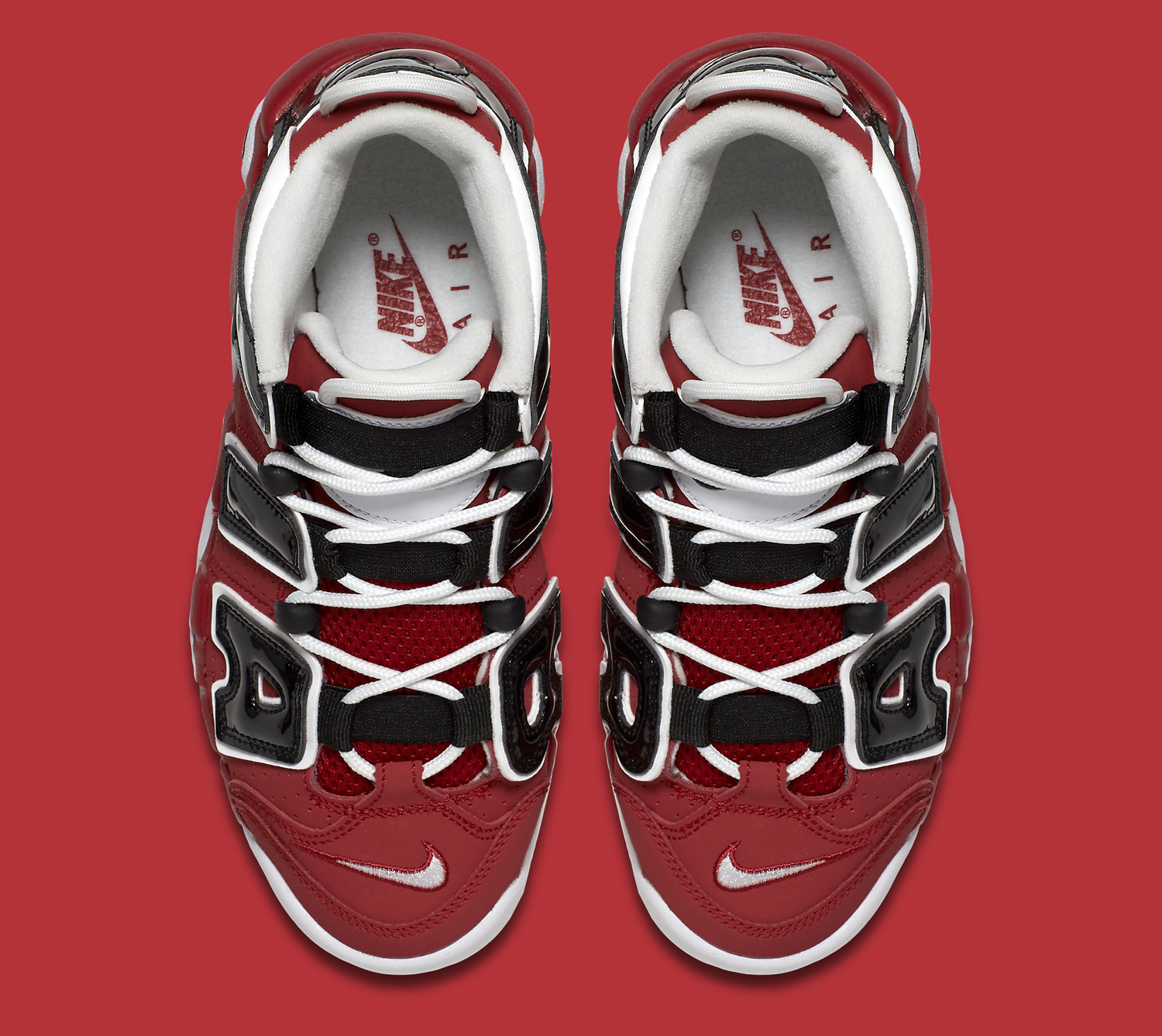 Nike Air More Uptempo Red Black Top Down