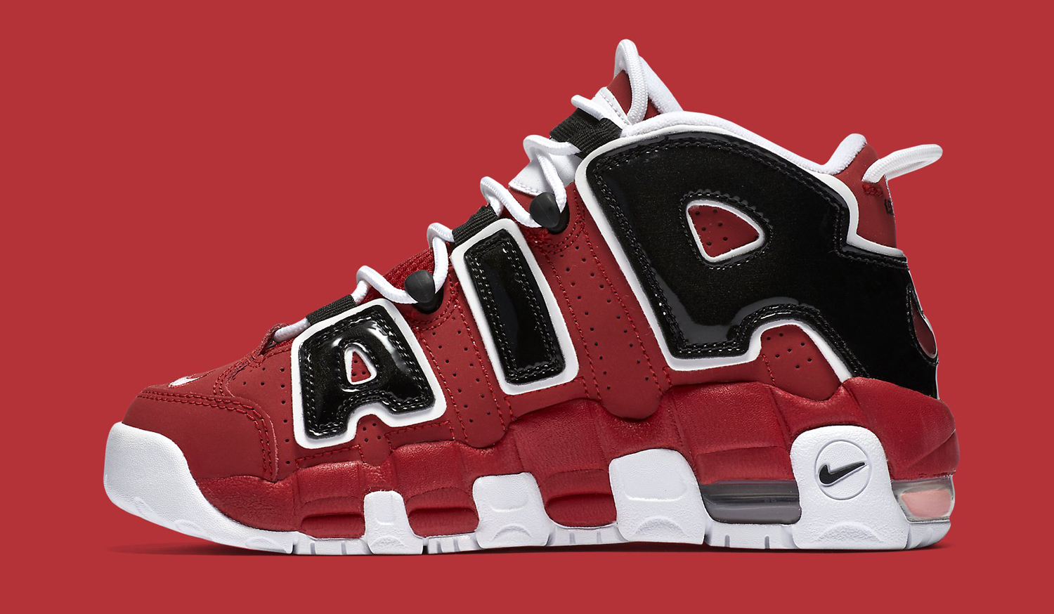 Nike Air More Uptempo Red Black Profile