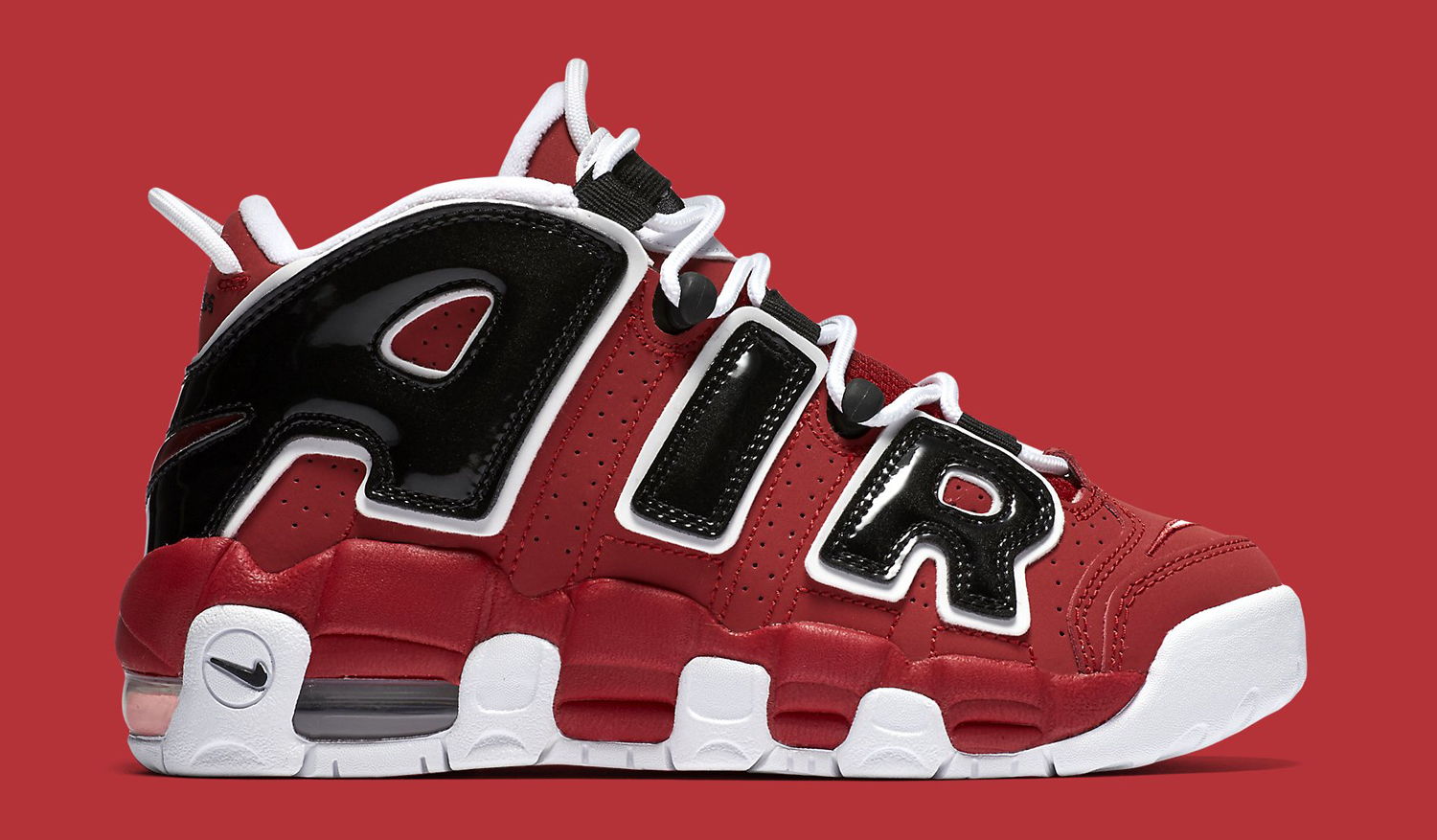 Nike Air More Uptempo Red Black Side