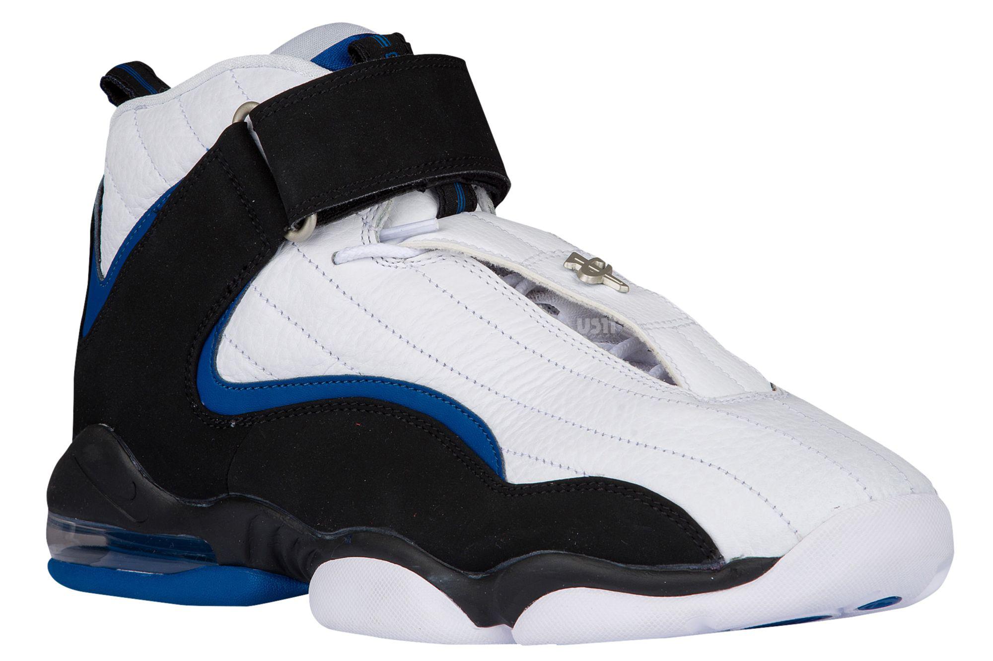 dc9a5a283cacd4 Nike Air Penny 4 2017 White Black Blue Orlando Side