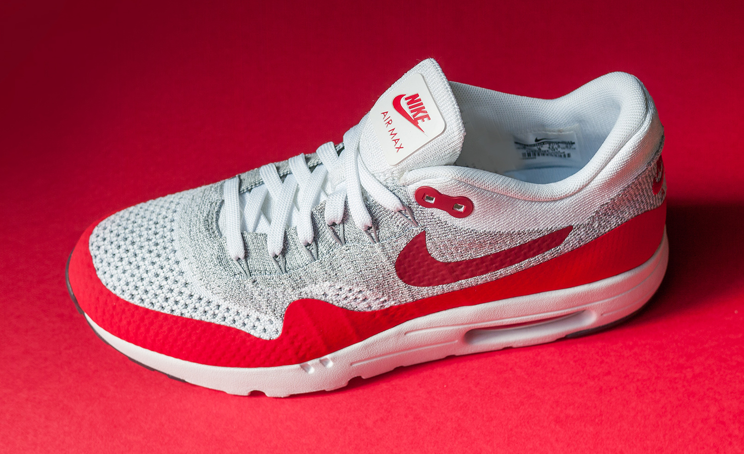 nike air max 1 flyknit white red sole collector. Black Bedroom Furniture Sets. Home Design Ideas