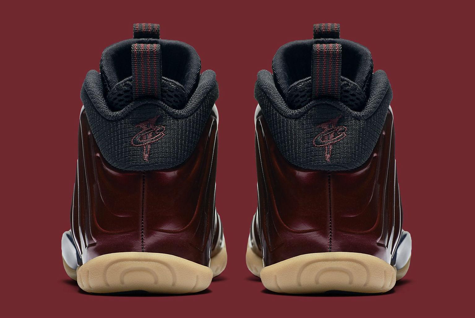 c12d316576292 Nike Foamposite Maroon Kids Heel 644791-600
