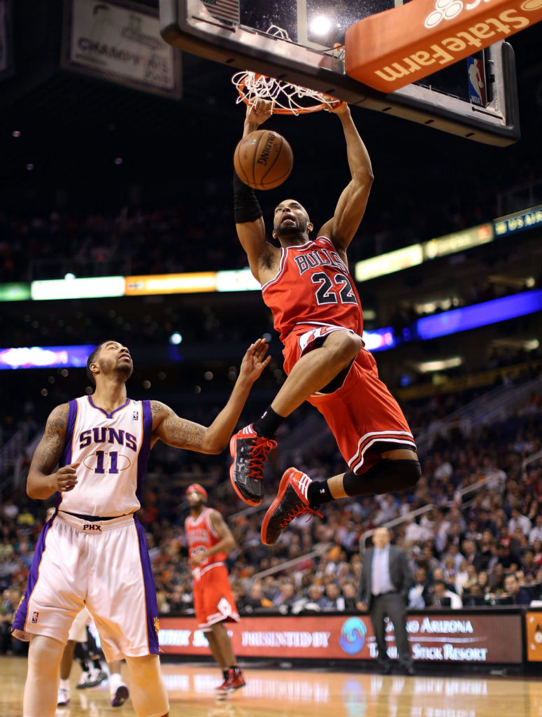 Taj Gibson wearing adidas Crazy Shadow Black Red