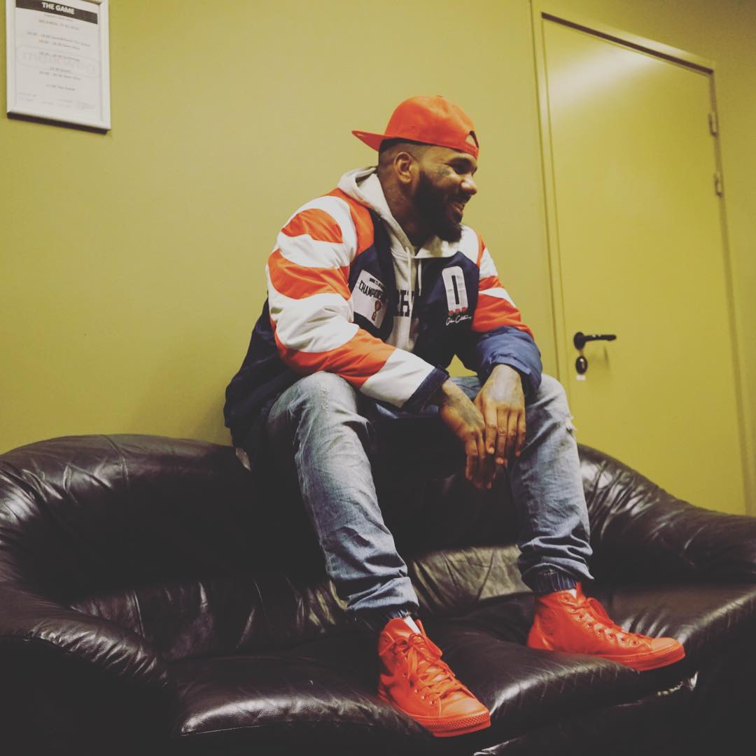 The Game Wearing the Red Leather Converse Chuck Taylor All Star