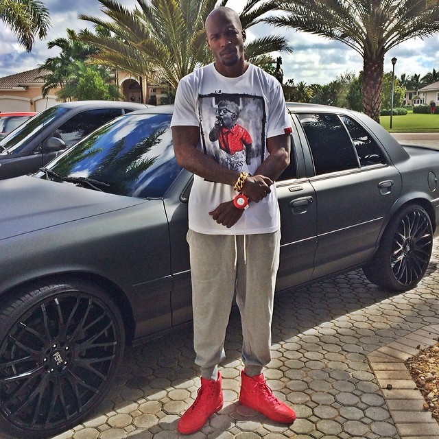 Chad Johnson wearing Balenciaga Red Pleated Sneakers