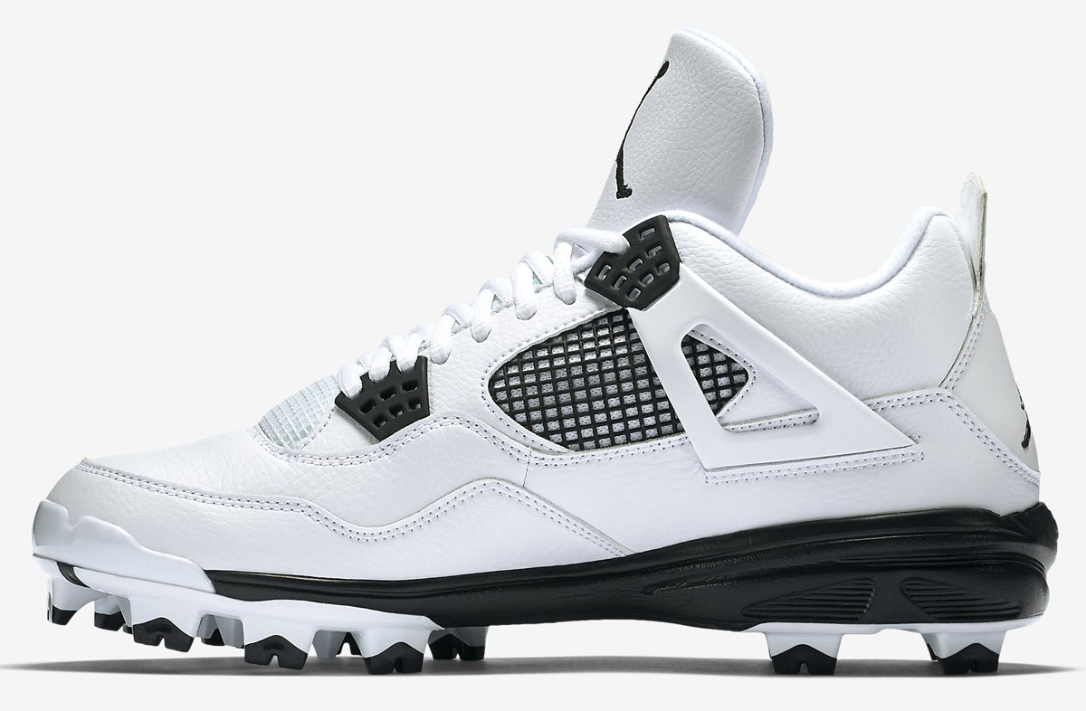 Air Jordan 4 Baseball Cleats White/Black (3)