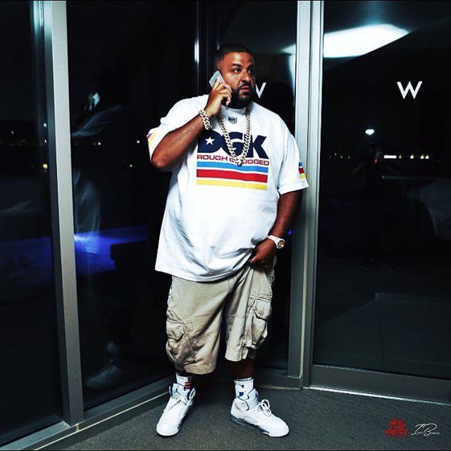 1b2d3f2fc DJ Khaled wearing the  Stealth  Air Jordan 5