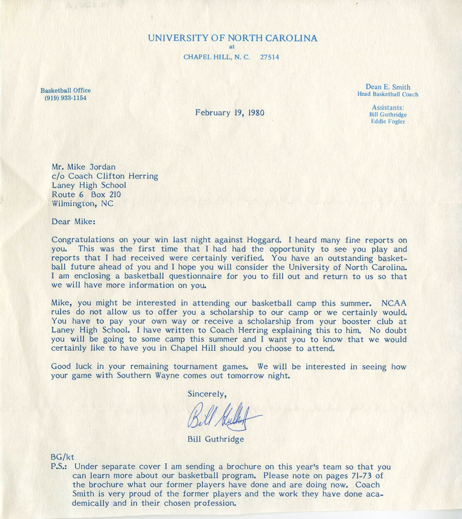 Michael Jordan Recruiting Letter from Bill Guthridge