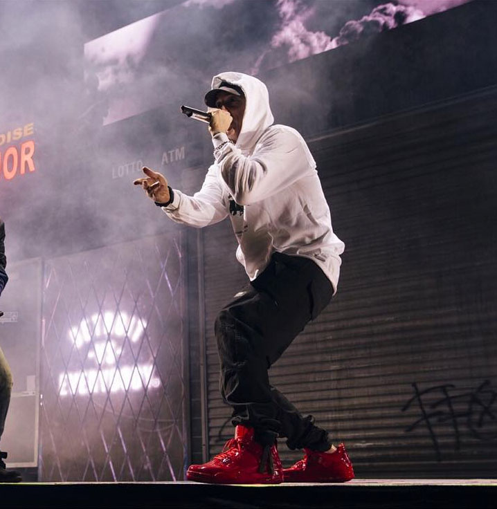 Eminem wearing the  Red  Air Jordan 11Lab4 d25cff5b5