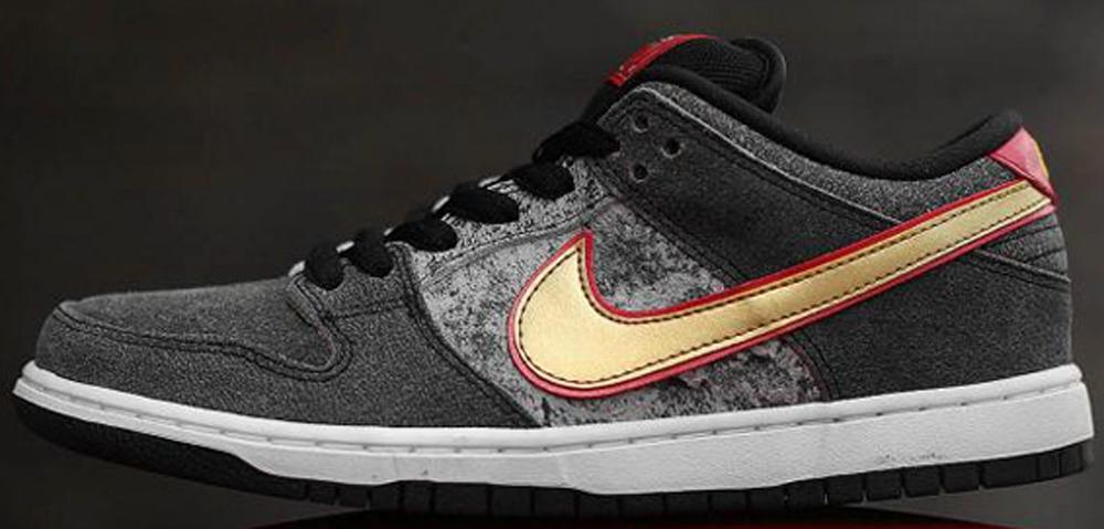 Nike Dunk Low Premium SB Black/Metallic Gold-University Red