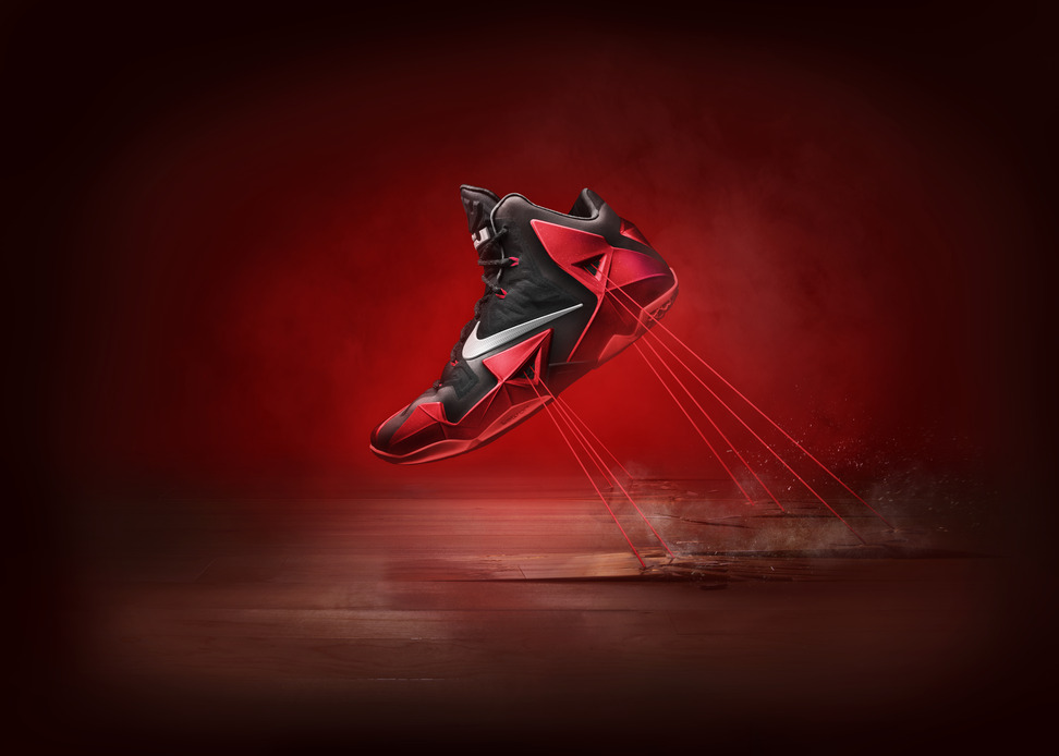 Nike LeBron 11 XI in black university red away Hyperposite