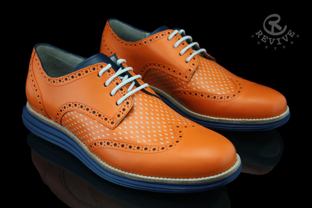 "Cole Haan LunarGrand Wingtip ""Knicks Orange"" for Spike Lee by Revive Customs (2)"