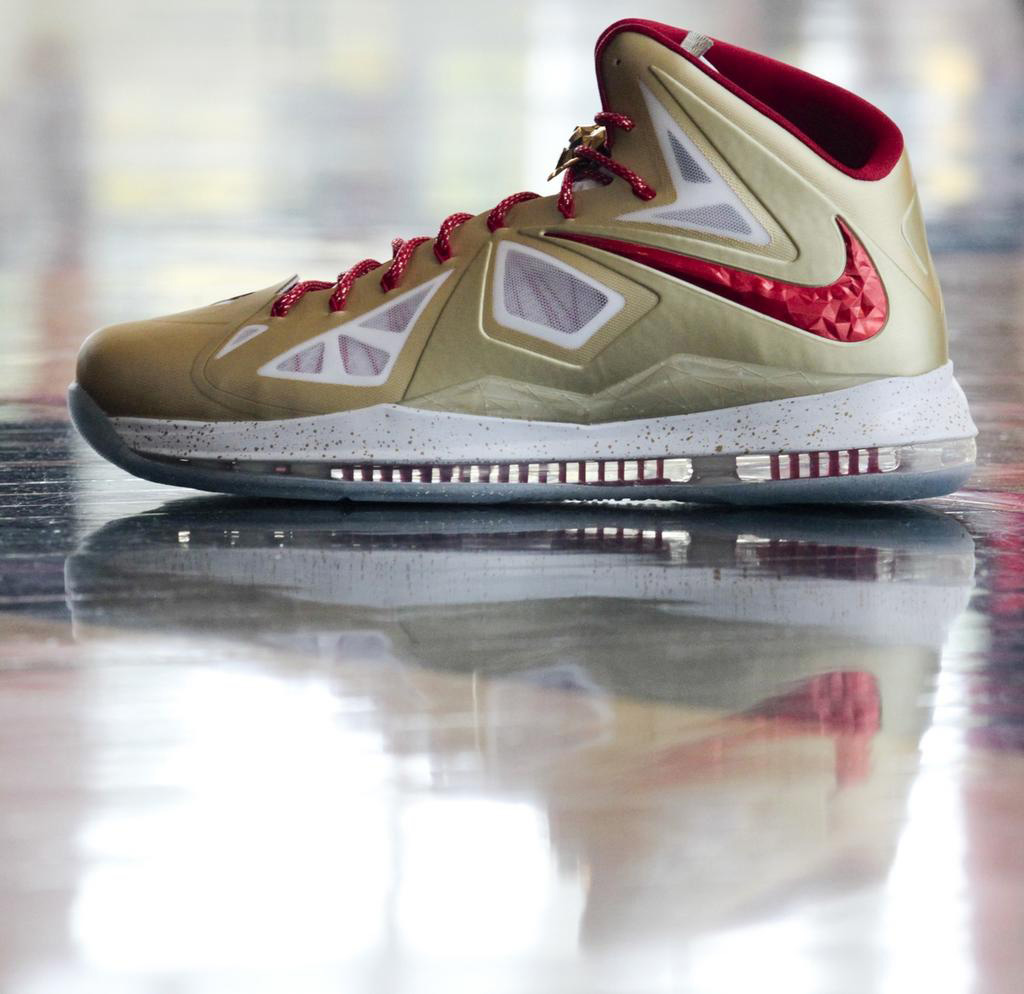 Check out the gold and red styled LeBron X that King James is expected to  wear tonight during the Miami Heat's Ring Night.