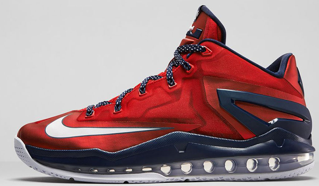 Authentic Nike Lebron XI Low Cheap sale University Red Obsidian
