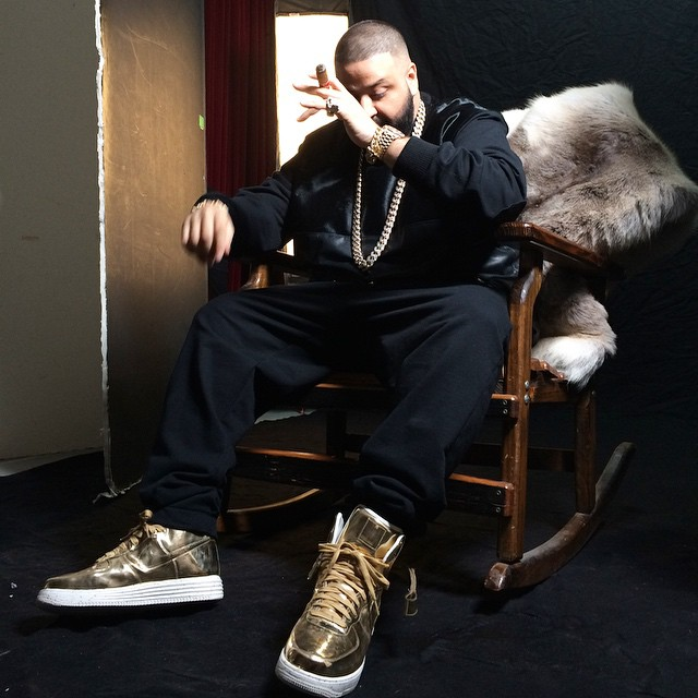 DJ Khaled wearing Nike Lunar Force 1 High Liquid Gold