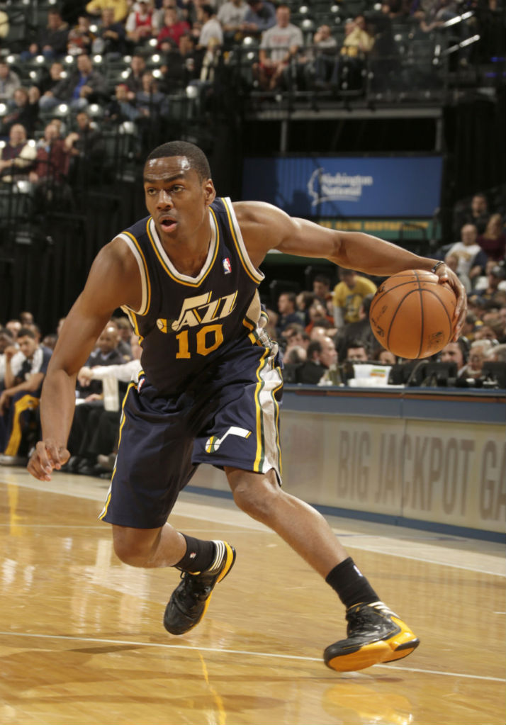 Alec Burks wearing adidas adizero Crazy Light 2 Black Yellow