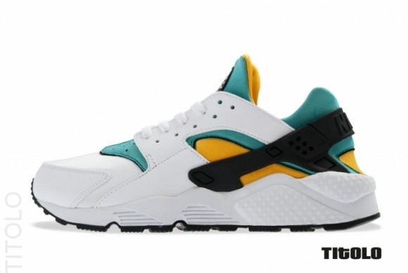 nike air huarache white sport turquoise & university gold