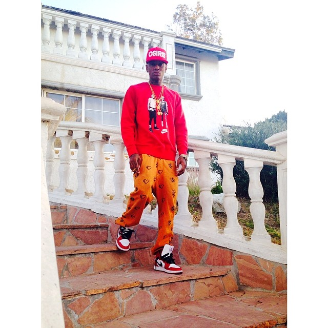 Soulja Boy wearing Air Jordan I 1 Bulls