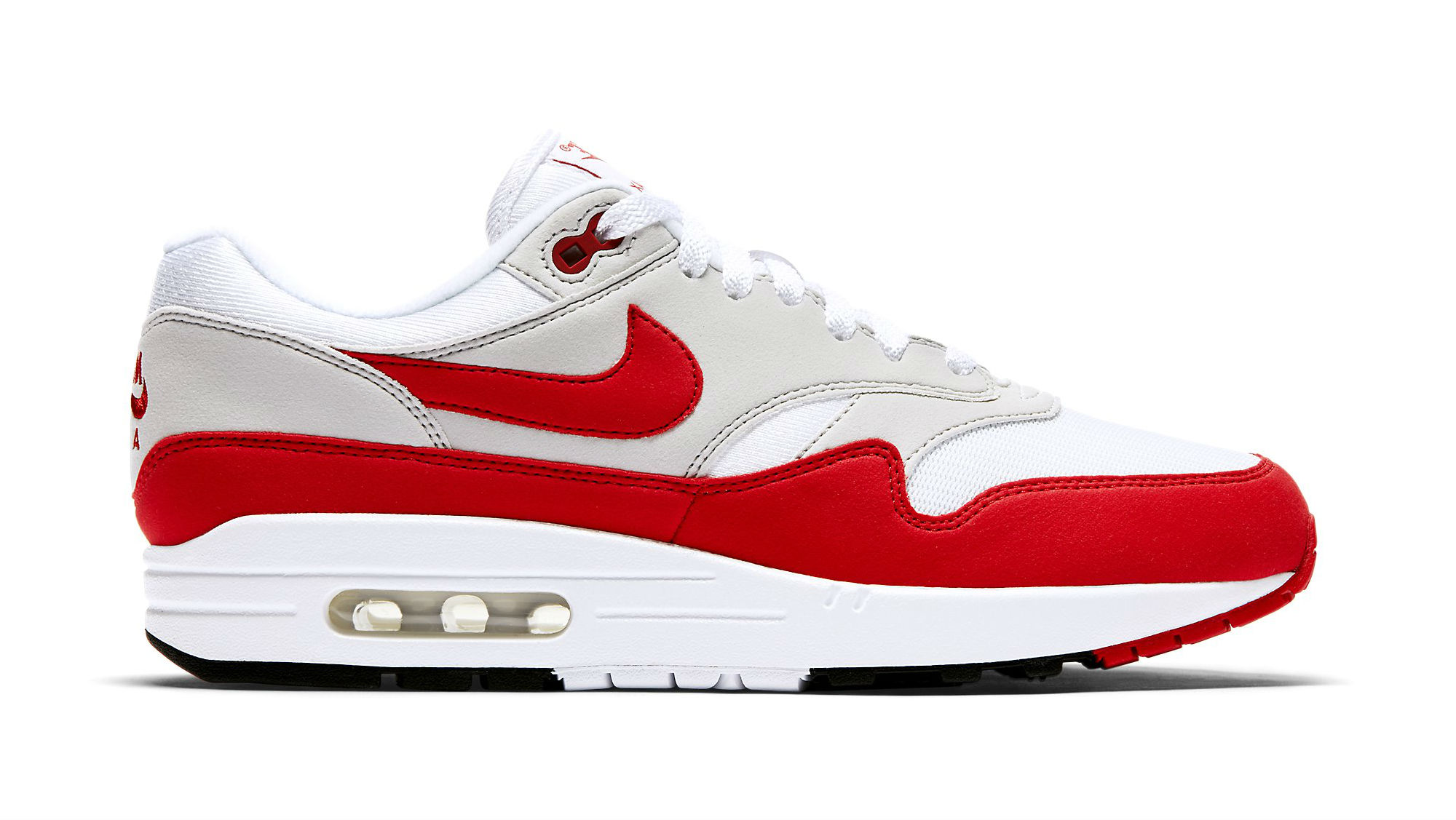 Nike Air Max 1 White/University Red-Neutral Grey-Black (Anniversary)