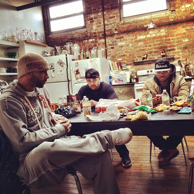 Joe Budden wearing Air Jordan 11 XI Silver Anniversary; Joell Ortiz wearing Air Jordan 11 XI Retro Black/Red; Royce Da 5'9 wearing Air Jordan 3 III Retro Doernbecher