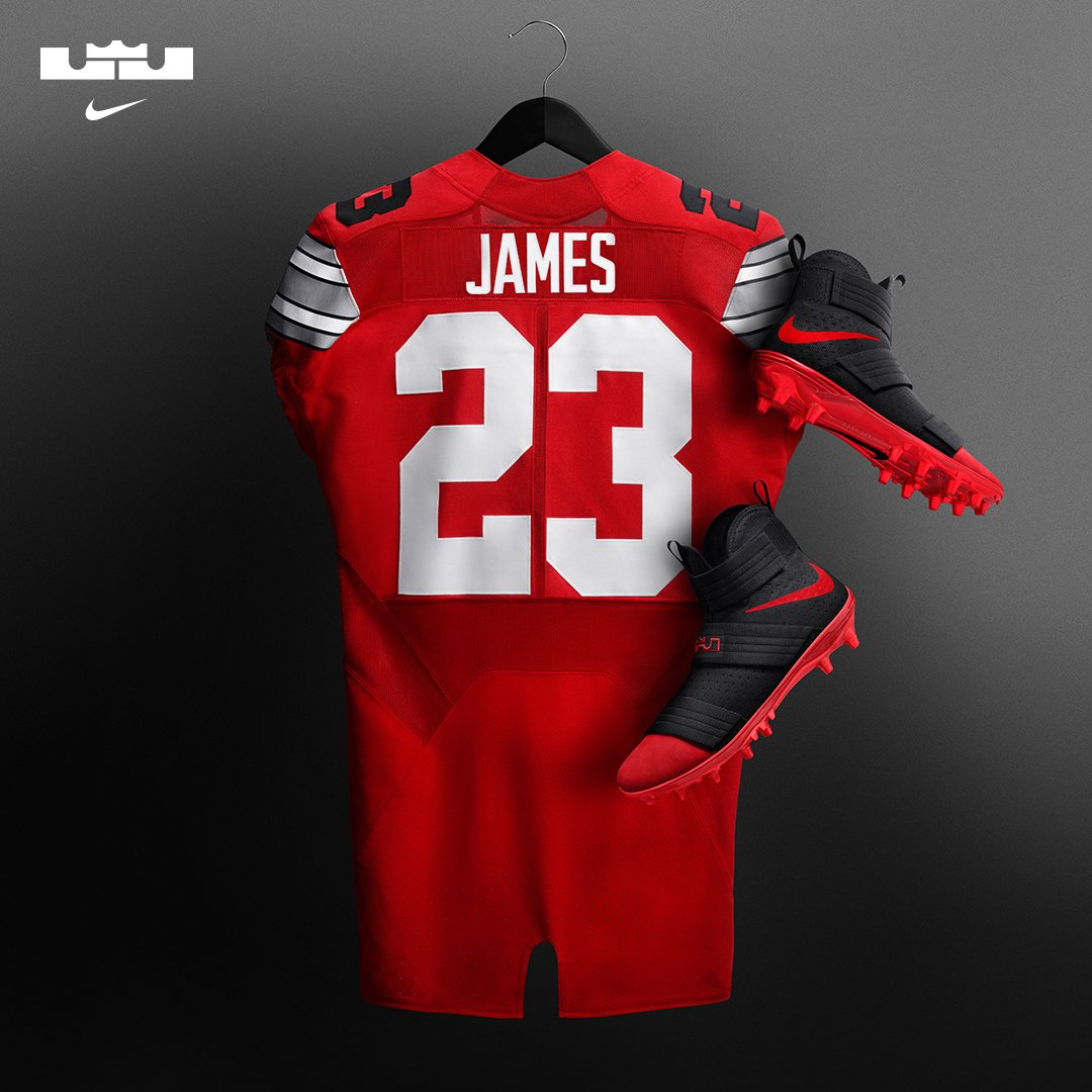 buy popular ee76c e78e5 Nike LeBron Soldier 10 Cleats Ohio State Jersey