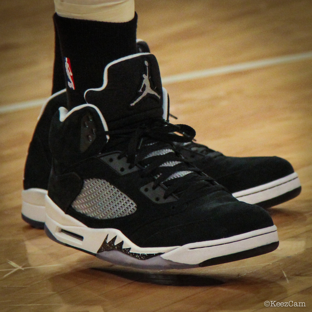 Sole Watch: Up Close At MSG for Knicks vs Nets - Joe Johnson wearing Air Jordan 5 Retro Oreo