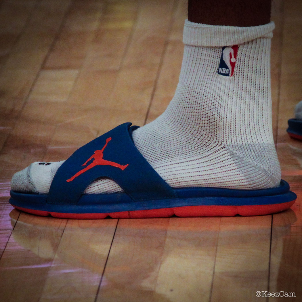 Carmelo Anthony wearing Jordan RCVR Slide