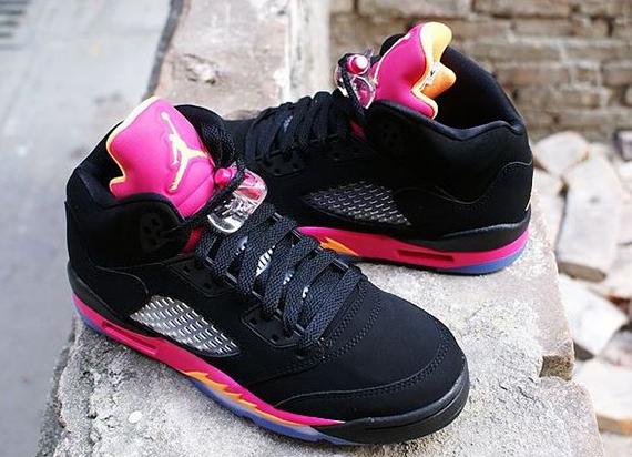 outlet store b318f a576a Air Jordan 5 Retro GS - Black/Bright Citrus-Fusion Pink ...