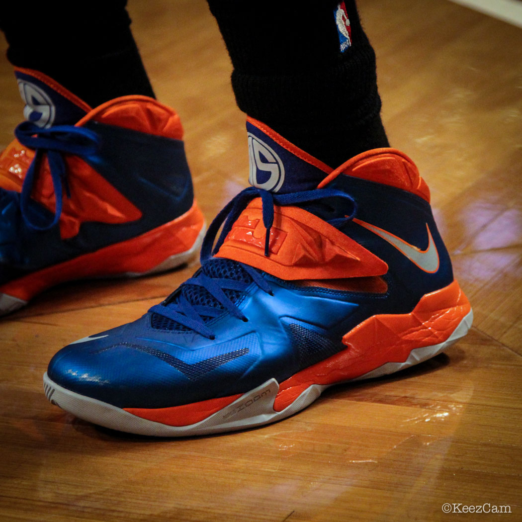 SoleWatch // Up Close At Barclays for Nets vs Knicks - Amar'e Stoudemire wearing Nike Zoom Soldier 7 PE