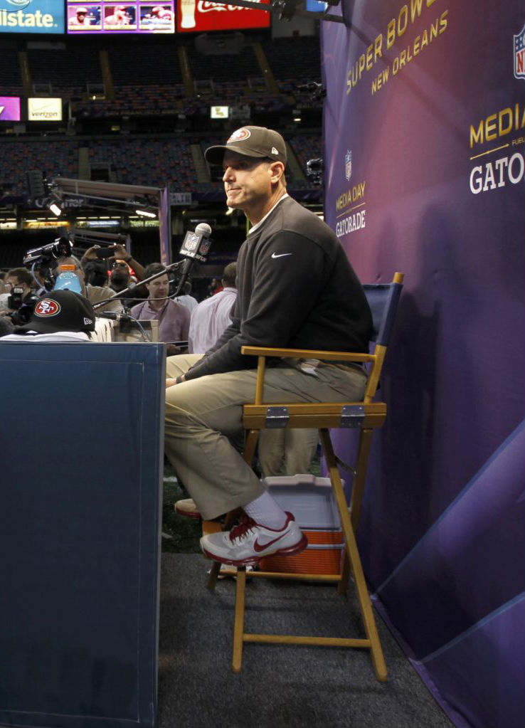 Jim Harbaugh wearing Nike Lunar TR1